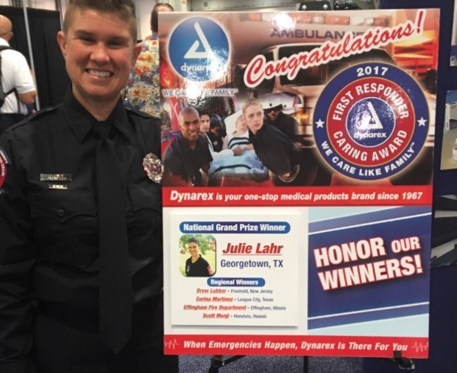 Lahr received the Dynarex First Responder Caring Award for developing and implementing the program. (Courtesy photo)