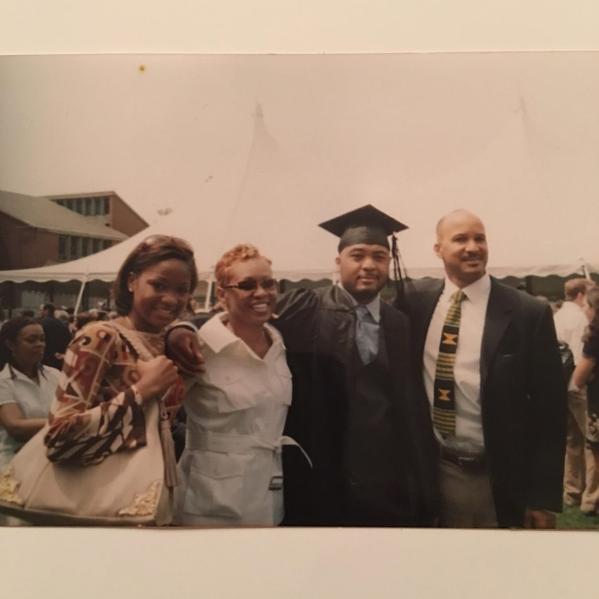 D.J. celebrates his graduation from Lasell College with Nicole, Roxanne and his father, Dennis.