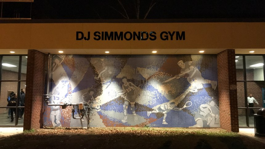 The Randolph High School gymnasium, where D.J. spent hours as a teen, was recently renamed after him. (Photo/Nicole Simmonds)
