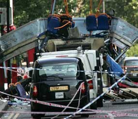 During the 7/7 attacks, three highly-coordinated explosions shook the London Underground railway system at precisely 0850 hours, and another explosion decimated a double-decker bus (shown above) in Tavistock Square less than an hour later. Those four suicide/homicide bombers killed 52 people and injured more than 700 others.