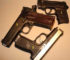 In this image, you can see three great options for concealed carry: #1 S&W Bodyguard .380 ACP, #2 Kahr CW40 .40S&W, #3 Colt LW Commander .45 ACP. (PoliceOne Image)