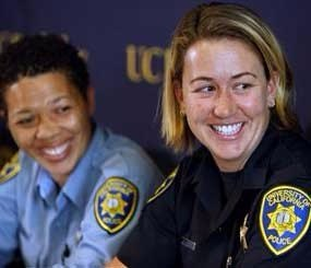 Lisa Campbell, manager of the University of California Police Department Special Events, left, and UC Berkeley police officer Ally Jacobs recall their interaction with kidnapping suspect Phillip Craig Garrido at a news conference in Berkeley, Calif., on Friday, Aug. 28, 2009.