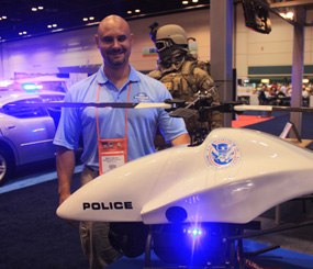 Pointing to a the 40 mm pod mounted on the port side of a ShadowHawk custom built for Department of Homeland Security, VDI CEO Mike Buscher explained,