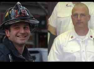 Boston firefighters Michael Kennedy (left) and Lt. Edward Walsh.