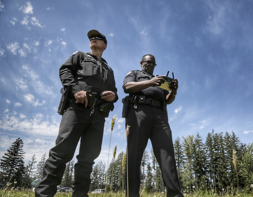 On May 12, 2017, The Tukwila PD Unmanned Aircraft System (UAS) team of eight police officers completed a UAS training program. (Photo/Tukwila PD)