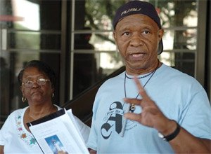 """Robert H. King one of the three black convicts known as the """"Angola Three"""" speaks during a news conference outside state court in Baton Rouge, La. (AP Photo/The Advocate, Arthur D. Lauck, File)"""