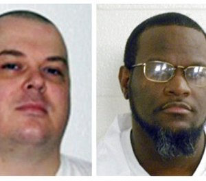 This combination of undated file photos provided by the Arkansas Department of Correction shows death-row inmates Jason F. McGehee, left, and Kenneth Williams. (Arkansas Department of Correction via AP)