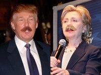 Trump, Clinton in firefighter mustache throwdown