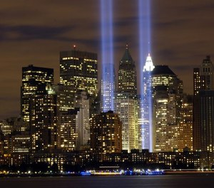 """The """"Tribute in Light"""" memorial is in remembrance of the events of Sept. 11, 2001, in honor of the citizens who lost their lives in the World Trade Center attacks. (Photo/U.S. Air Force, Denise Gould)"""