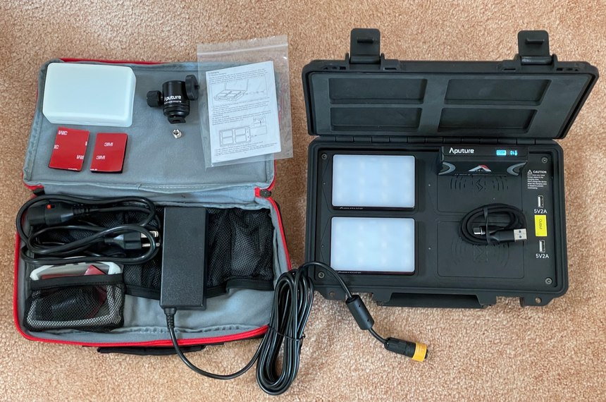 The 4-light case has a separate accessory bag with no extra room for additional gear.
