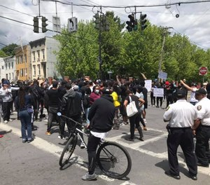 Protesters gather on Monday, June 1 in Albany following the police killing of George Floyd. Albany County will hold walk-up COVID-19 testing in Albany on Thursday for first responders and protesters who may have been exposed during mass gatherings over the last few days.