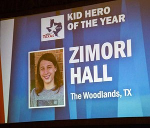 Zimori Hall was awarded the 2017 Kid Hero Award at the Texas Public Safety conference.