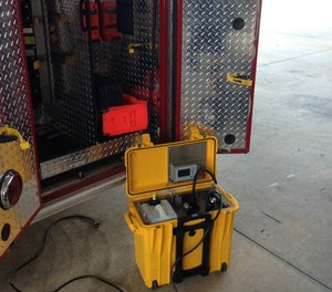 Made in Winter Park, the 48-pound unit is self-contained in a plastic box and can treat up to a 5,000-cubic-foot space. Set inside a rescue unit with spray nozzle extended, it mists up the interior in a few minutes.