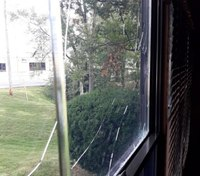 Rock smashes through Ill. fire station window