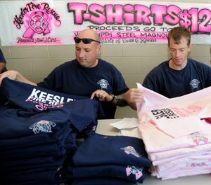 T-shirts are often sold as a fundraiser to help a firefighter or his family.