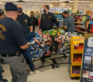 Crown Point Fire Rescue Chief Dave Crane was contacted to round up as many helping hands as he could to head to the local Jewel-Osco and Strack & Van Til on Broadway for a