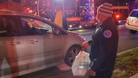 NY paramedics take over for food delivery driver injured in crash