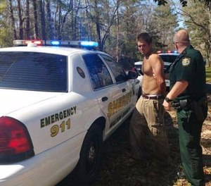 A wild string of events, including a stunning contortionist act straight out of an action movie, landed a Texas man in a Florida Panhandle jail on a slew of felony charges. (Photo/Walton County Sheriff)