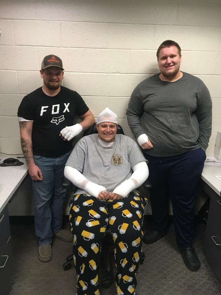(From left to right) Charlestown Volunteer Fire Company Firefighters Ryan Jenkins, Danny Miller and Jordan Heverin returned to the fire station to be fitted for new gear on Thursday after being burned in a trailer fire earlier this month.