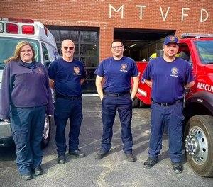 Left to right: New Chapel EMT Amber Durham, FF Tony Brock, Lieutenant Guy Stoffregen, Battalion Chief Eddie Cissell.