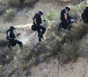 Members of the LAPD SWAT team in a training session on April 26, 2015.