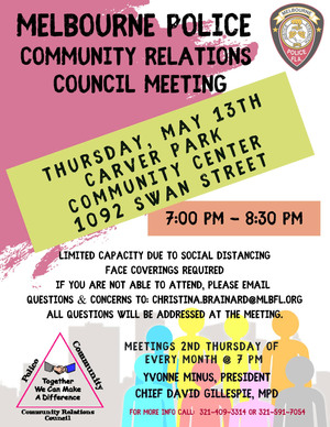 Community meetings are a key part of the Melbourne Police Department's commitment to transparency.
