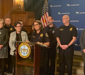 Officials hold a press conference in Lexington, Ky., after local hospitals donated $200,000 to the Lexington Fire Department's community paramedicine program. (Photo/Lexington-Fayette Urban County Government)