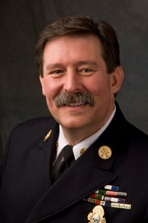 """Curt Varone – attorney at law, deputy chief with the Exeter, Rhode Island, and deputy assistant chief with Providence, Rhode Island (Ret.) – presented """"10 High-Risk Policy Areas in the Fire Service"""" at FDIC 2019. (Photo courtesy http://www.firelawblog.com/)"""