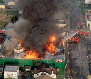 A fire burns out of control at the corner of 67th St. and West Blvd. in South Central Los Angeles April 30, 1992. Hundreds of stores were burned after rioting erupted after the verdicts in the Rodney King assault case.