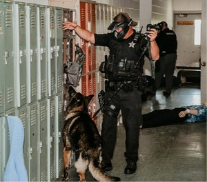K-9 teams participate in an active shooter drill at CTATC in Immokalee, Florida.