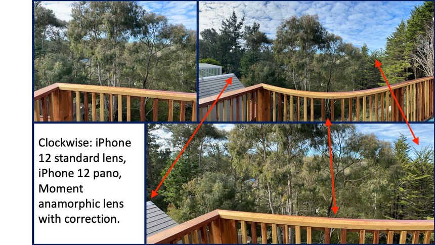 Figure 2:An anamorphic lens can capture an image about 75% as wide as the iPhone's built-in panorama function but with much less distortion.