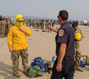 A group of more than 270 California National Guard soldiers begin hand crew training with CAL FIRE in this Aug. 23, 2020 photo. A group of 12 U.S. senators have penned a letter to the chief of the National Guard Bureau asking for a