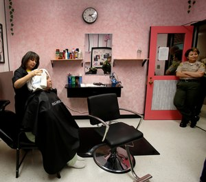 Prison salons, like this one in Lynwood, California, offer inmates valuable opportunities to learn new job skills during their time behind bars.