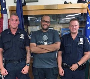 NYPD cops (from left to right) Erik Skoglund, Adam Riddick and Andrew Vlasaty. (NYPD Image)