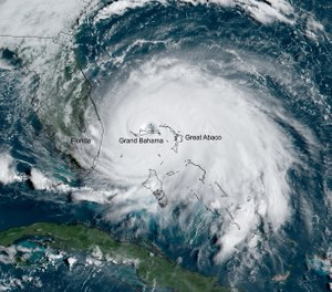 On Sunday, Dorian's maximum sustained winds reached 185 mph (297 kph), with gusts up to 220 mph (354 kph), tying the record for the most powerful Atlantic hurricane to ever make landfall. (Photo/NOAA)