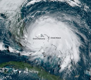 On Sunday, Dorian's maximum sustained winds reached 185 mph (297 kph), with gusts up to 220 mph (354 kph), tying the record for the most powerful Atlantic hurricane to ever make landfall.