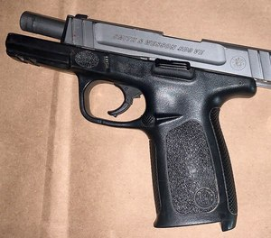 Sacramento Police said this firearm was recovered near the suspect.