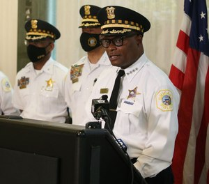 Chicago Police Superintendent David Brown speaks at a press conference in Chicago, July 27, 2020.