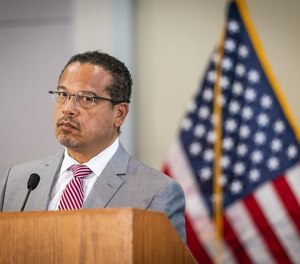 Attorney General Keith Ellison speaks during a press conference at the Minnesota Department of Revenue.