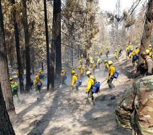 Soldiers receive training to respond as firefighters to the August Complex, which is now California's largest-ever wildfire.