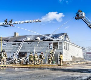 Firefighters from four Rhode Island fire departments extinguished a fire at the Jamestown Golf Course on Saturday. Jamestown fire officials said the blaze was part of a training exercise, but not all of the department that responded were aware of the exercise.