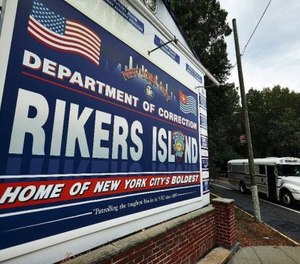 Sign at the entrance to Rikers Island.