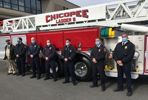 Members of the Chicopee Fire Department stand in front of the city's new ladder truck. They are (from right to left) Deputy Chief Matthew Cross, Chief Daniel Stamborski, Lt. Matthew Zabik, firefighter Joseph Berge, Capt. Ryan Lynch, firefigher Liam St. Marie and City Councilor Gerard Roy, a retired firefighter.