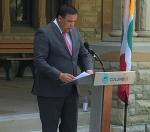 Columbus Mayor Andrew J. Ginther speaks Friday during a news conference at Columbus Public Health to announce a new Alternative Response Pilot Program.