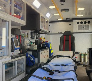 The interior of the new TraumaOne ambulance has room for two patients and five medical staff, with onboard generator and lifesaving equipment.