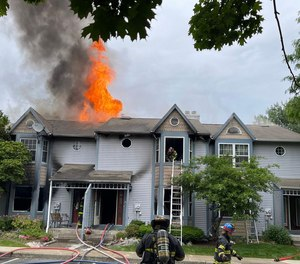 Three firefighters were injured battling a three-alarm blaze in Bethlehem Township, Pa., on Monday.