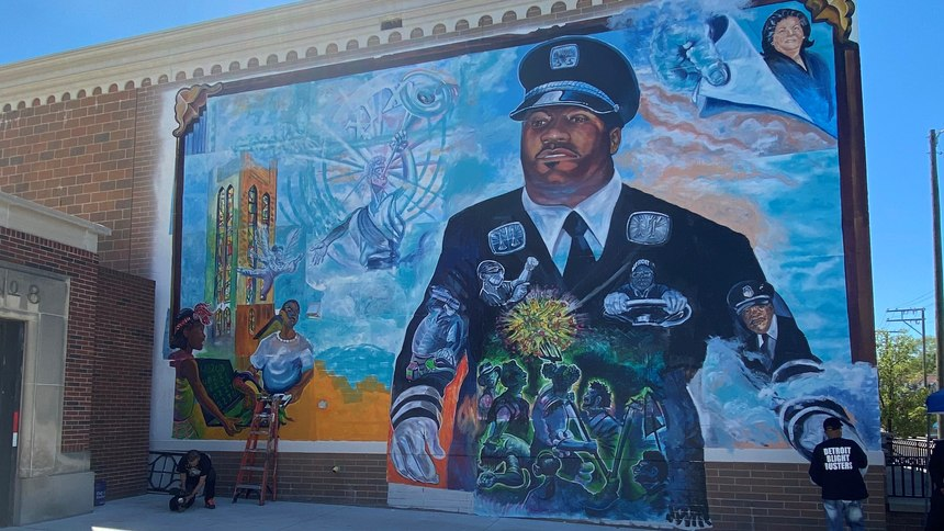 A mural honoring front-line workers who died from COVID-19 was unveiled May 30, 2021, at the Arabic American and Chaldean Council's 55 W. 7 Mile Road building in Detroit.