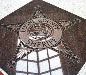 A granite star in the lobby of Boone County Jail