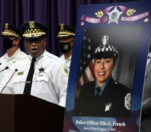 Police Superintendent David Brown announces that charges have been filed in the death of Chicago Police Officer Ella French (seen in photo), who was shot and killed during a traffic stop.