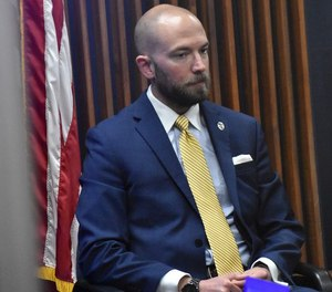 Huntsville police officer William Ben Darby took the stand in his own defense during his murder trial at the Madison County Courthouse in downtown Huntsville, Ala. on May 5, 2021.